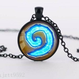 Swirling Charm Cabochon Pendant Necklace